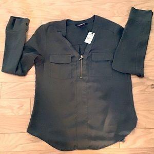 NWT Express Chelsea Zip Pocket Popover Shirt XS